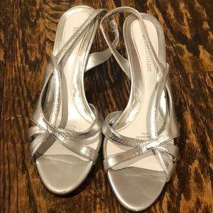 Silver strappy kitten heels